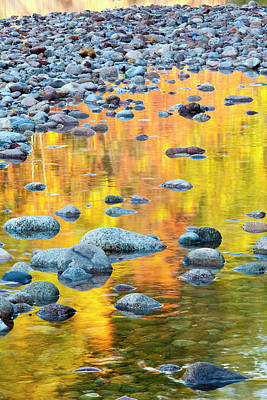 Fall Colors Reflect In The Saco River Print by Jerry and Marcy Monkman