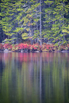 Fall Colors Reflecting Off The Water Print by Robbie George