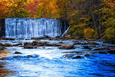 Fall Comes To Vickery Creek In Roswell Print by Mark E Tisdale
