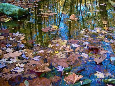 Fallen Leaf On Water Photograph - Fall Creek by Pamela Clements