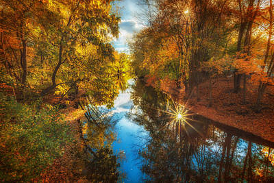 Fall Filtered Reflections Print by Sylvia J Zarco