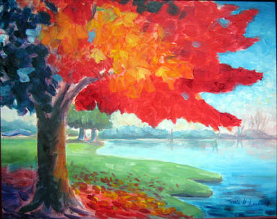 Iconic Painting - Fall Fire by Karin  Leonard