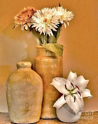 Pottery Digital Art - Fall Floral Bouquets by Marsha Heiken