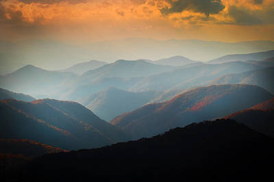 Red Leaves Photograph - Fall Foliage Ridgelines Great Smoky Mountains Painted  by Rich Franco
