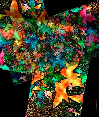 Colors Digital Art - Fall Leaves In Geometric Art by Mario Perez