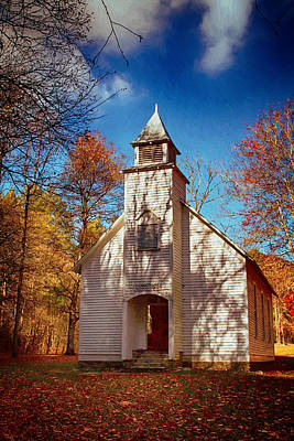 Fall Photograph - Fall Morning At Palmer Chapel In Cataloochee by John Haldane