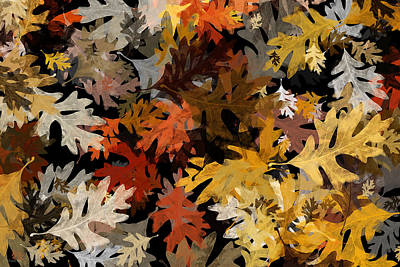 Nature Abstracts Mixed Media - Fall Oak Leaf Abstract Art by Christina Rollo
