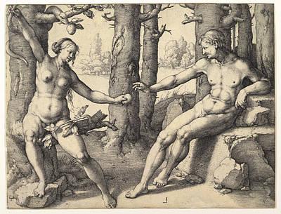 Lucas Van Leyden Drawing - Fall Of Man by Lucas van Leyden