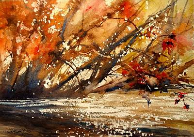 White Water Rafting Painting - Fall On The Sturgeon River by Sandra Strohschein