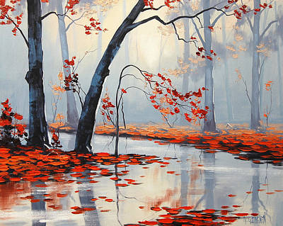 Leafy Painting - Fall River Painting by Graham Gercken