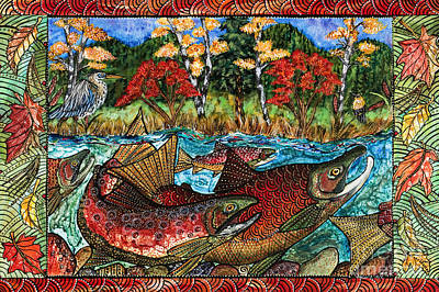 Salmon Painting - Fall Salmon by Melissa Cole