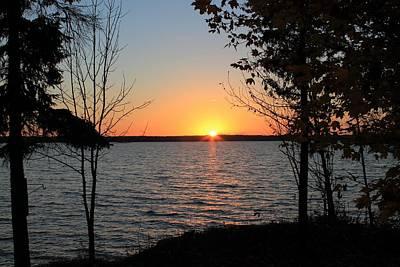 Fall Sunset At Long Lake Print by Rhonda Humphreys