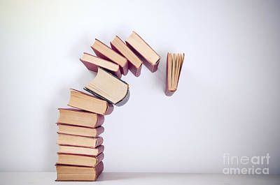 Books Photograph - Falling Books by Viktor Pravdica