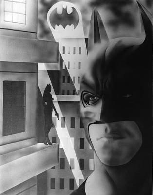 Batman Building Painting - Falling For The Wrong Girl by Rob Francis