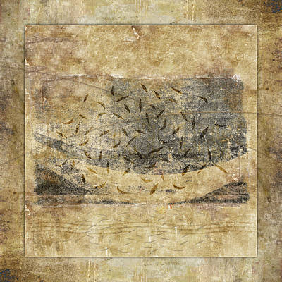 Abstract Collage Photograph - Falling Leaves Crescent Moon by Carol Leigh