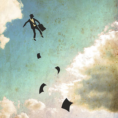 Surreal Digital Art - Falling Up by Jazzberry Blue