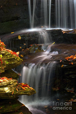 Pa State Parks Photograph - Falls And Fall Leaves by Paul W Faust -  Impressions of Light