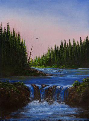 Sawtooth Mountain Art Painting - Falls At Rivers Bend by C Steele