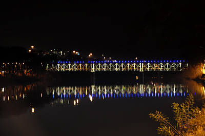 Falls Bridge At Night Print by Bill Cannon