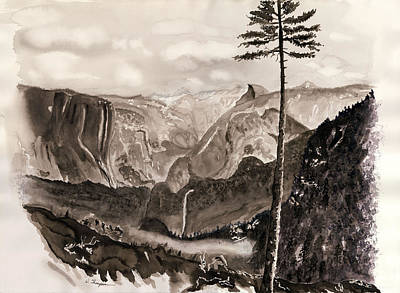 El Capitan Painting - Falls Of The Yosemite Painting by Warren Thompson