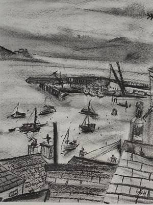 Cloudscape Drawing - Falmouth Docks 3 by Matt Swann