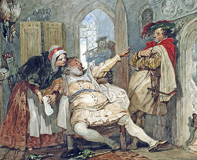 Falstaff Bardolph And Dame Quickly Print by Francis Phillip Stephanoff