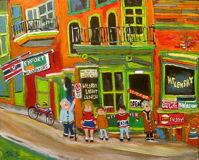 Litvack Naive Painting - Family At Wilensky's Montreal Memories by Michael Litvack