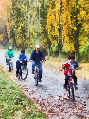 Family Bike Ride Print by Susan Savad