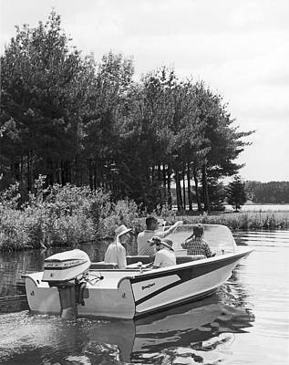 Family Boat Ride Print by Underwood Archives