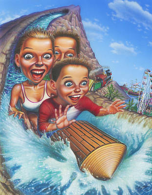 Water Theme Painting - Family Enjoying Water Slide - Amusement Park Ride - Log Ride by Walt Curlee