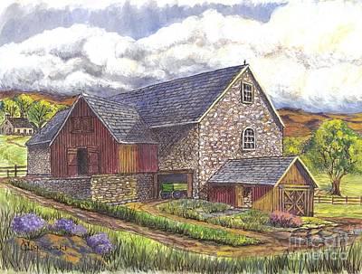 Old Barn Drawing Drawing - A Scottish Farm  by Carol Wisniewski