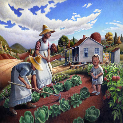 Folksie Painting - Family Garden Country Farm Landscape - Square Format by Walt Curlee