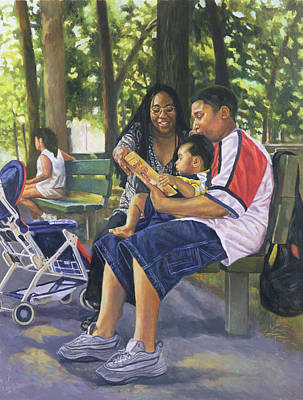 Black Artist Painting - Family In The Park by Colin Bootman