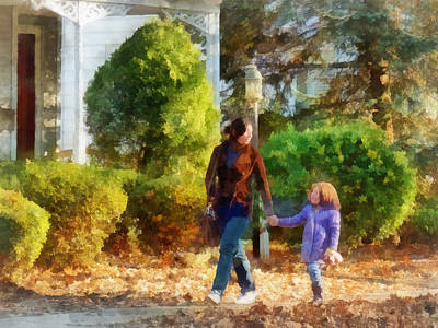 Daughter Photograph - Family - Mother And Daughter Taking A Stroll by Susan Savad