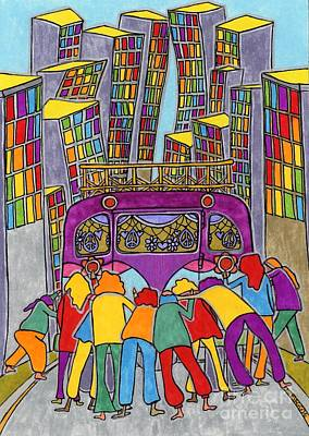 Family Car Drawing - Family Of Friends - In The City by Mag Pringle Gire