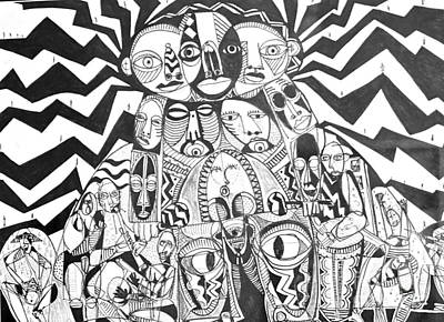 Weusi Art Drawing - Family Of Man by Robert Daniels