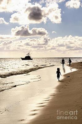 Family On Sunset Beach Print by Elena Elisseeva