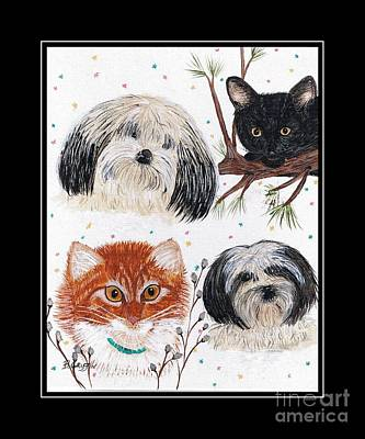 Tree With Eye Painting - Family Pets With Black Border by Barbara Griffin