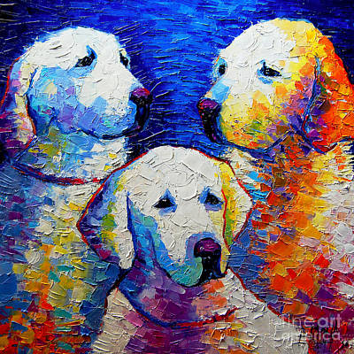 Abstract Dog Painting - Family Portrait by Mona Edulesco