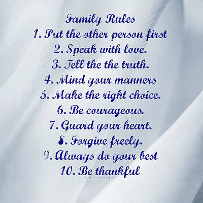 Photograph - Family Rules Blue by Marty Koch