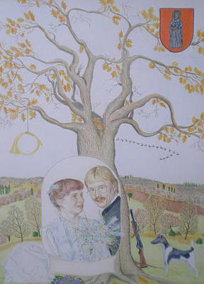 Genealogy Drawing - Family Tree Wedding Anniversary by Alix Mordant