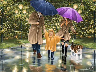 Umbrella Painting - Family by Veronica Minozzi