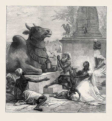 1874 Drawing - Famine In India 1874 by Indian School
