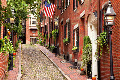Famous Acorn Street In Beacon Hill Print by Brian Jannsen