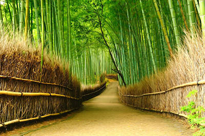 Bamboo Fence Painting - Famous Bamboo Grove At Arashiyama by Lanjee Chee