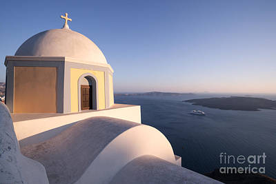 Greek Icon Photograph - Famous Orthodox Church In Santorini Greece At Sunset by Matteo Colombo