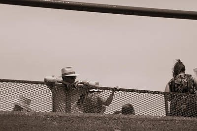 Fan Watching The Horses At Churchill Downs  Print by John McGraw