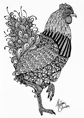 Doodle Drawing - Fanciful Chicken by Melissa Sherbon