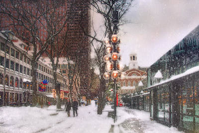 Faneuil Hall Winter Scene Print by Joann Vitali
