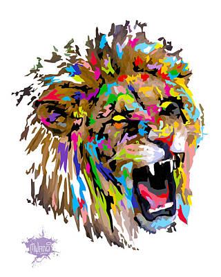 Lion Painting - Fangs by Anthony Mwangi